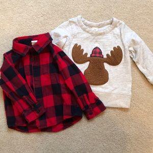 Baby gap buffalo plaid moose sweatshirt 18-24 mos